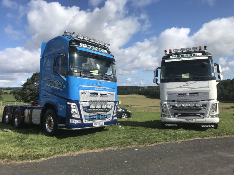 Two C. G. Robinson trucks on show at the Barnard Castle Truck Show in 2018