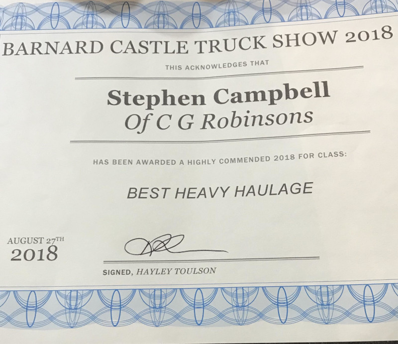 Certificate awarded to Steve Campbell on behalf of C. G. Robinson: Best Heavy Haulage